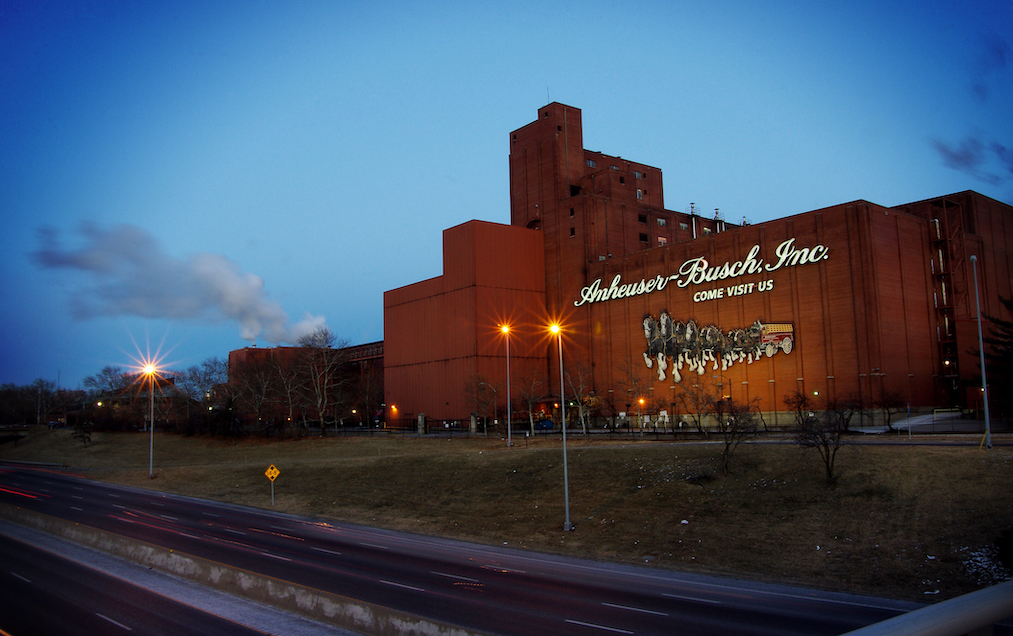 Saint Louis, MO—January 6, 2017–time exposure of the outside of the brick Anheuser-Busch brewery in St. Louis.
